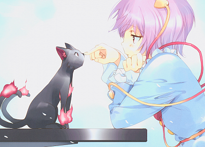 Touhou, cats, pink hair, Kaenbyou Rin, Komeiji Satori, anime girls - desktop wallpaper