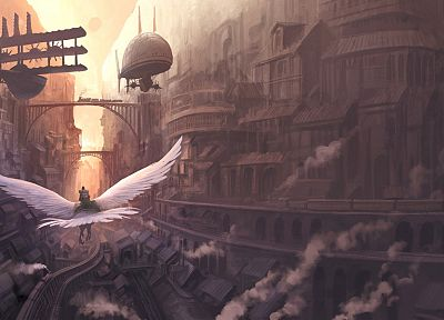 steam, cityscapes, birds, animals, architecture, steampunk, buildings, fantasy art, artwork, flight, soft shading - related desktop wallpaper
