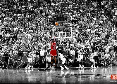 sports, NBA, basketball, Michael Jordan, selective coloring, Chicago Bulls - random desktop wallpaper