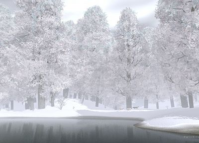 water, nature, snow, trees, CGI, wolves, renders - random desktop wallpaper
