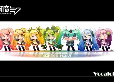 Vocaloid, Hatsune Miku, chibi, rainbows, detached sleeves - random desktop wallpaper