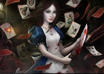 cards, blood, knives, Alice: Madness Returns, American McGees Alice - random desktop wallpaper