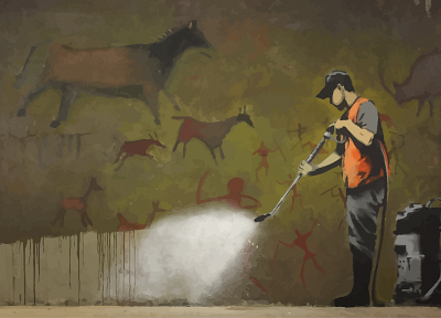 streets, graffiti, Banksy - random desktop wallpaper