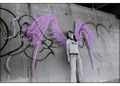 angels, women, wings, grayscale, artwork, selective coloring - random desktop wallpaper