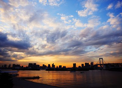 clouds, skylines, silhouettes, skyscapes, evening, cities - related desktop wallpaper