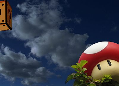 clouds, Mario, mushrooms, One Million Years B.C., One-Up - random desktop wallpaper
