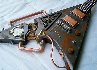 steampunk, guitars - desktop wallpaper