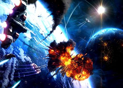 light, outer space, futuristic, explosions, planets, spaceships, digital art, vehicles - related desktop wallpaper