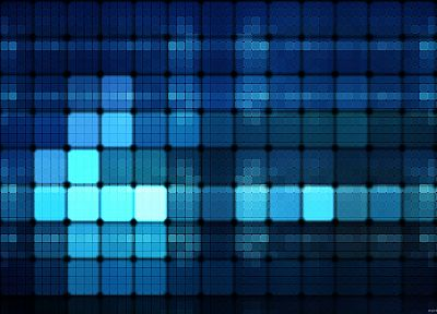 abstract, blue, grid, digital art, tiles - desktop wallpaper
