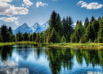 mountains, clouds, landscapes, nature, forests, lakes - related desktop wallpaper