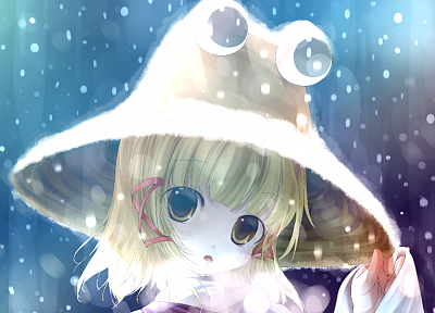 blondes, Touhou, Goddess, short hair, Moriya Suwako, hats, anime girls - random desktop wallpaper