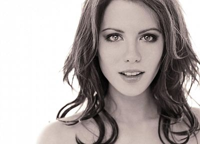 women, actress, Kate Beckinsale, grayscale, monochrome, faces - related desktop wallpaper
