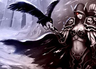 World of Warcraft, archers, armor, red eyes, bows, artwork, Traxex, Sylvanas Windrunner, long ears, ravens - desktop wallpaper