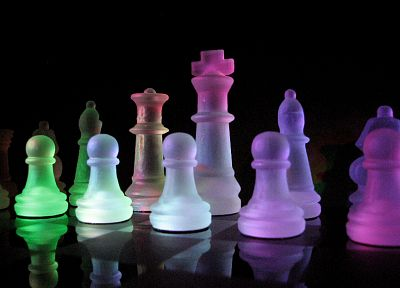 black, dark, glass, chess, rainbows, glass art - desktop wallpaper