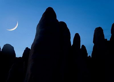 sand, Moon, Arches National Park, Utah, arch, National Park, crescent, rock formations - random desktop wallpaper