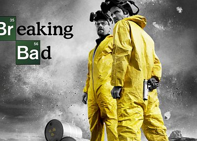 yellow, gray, Breaking Bad, selective coloring, Bryan Cranston, Walter White, Aaron Paul, Jesse Pinkman, men with glasses - related desktop wallpaper