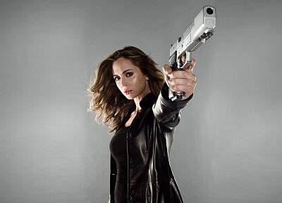 brunettes, Dollhouse, guns, actress, Eliza Dushku, girls with guns, leather jacket, grey background - related desktop wallpaper