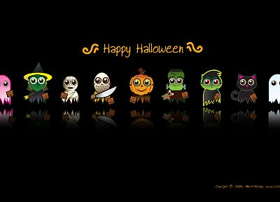 cartoons, Halloween, black background - desktop wallpaper