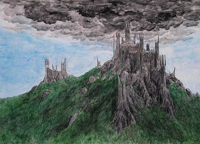 clouds, castles, fortress, The Lord of the Rings, fantasy art, Middle-earth - related desktop wallpaper