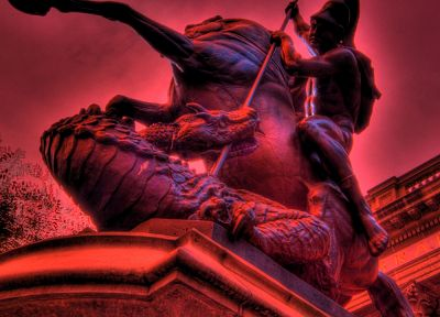 dragons, statues, Saint George - desktop wallpaper