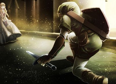 video games, Link, shield, The Legend of Zelda, oracle, swords - desktop wallpaper
