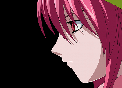 black, Elfen Lied, Lucy (Elfen Lied), pink hair, anime, anime girls, faces, black background - random desktop wallpaper