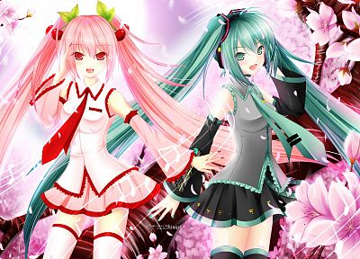 women, Vocaloid, Hatsune Miku, twintails, multiple persona, Sakura Miku, detached sleeves, Vocaloid Fanmade - desktop wallpaper