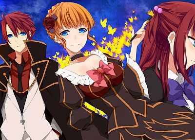 blondes, witch, dress, blue eyes, suit, redheads, cleavage, tie, Umineko no Naku Koro ni, long hair, short hair, twintails, bows, pipes, capes, anime boys, Beatrice, braids, choker, Ushiromiya Battler, Ushiromiya Ange, anime girls, hair bun, butterflies - desktop wallpaper