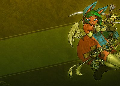 wings, katana, armor, male, anime, swords, lagomorph, Monkey D Luffy, furry, dual wield, Bonk - related desktop wallpaper