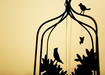 birds, silhouettes, cage, simple background - desktop wallpaper