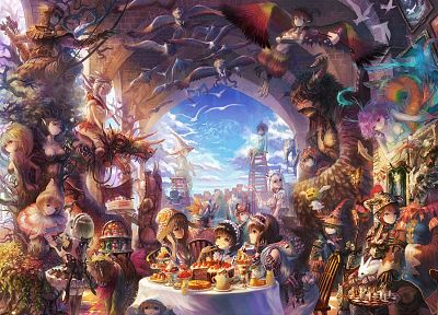 food, party, fantasy art, creatures, anime, soft shading, anime girls - desktop wallpaper