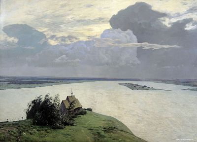 paintings, clouds, landscapes, artwork, Isaac Levitan - random desktop wallpaper
