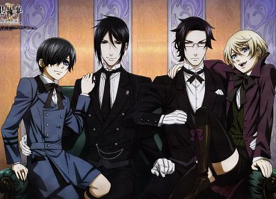 brunettes, blondes, suit, Kuroshitsuji, Ciel Phantomhive, Sebastian Michaelis, Alois Trancy, anime, anime boys, Claude Faustus - related desktop wallpaper