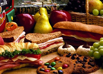 sandwiches, food, cookies, bread, grapes, pears, apples - related desktop wallpaper