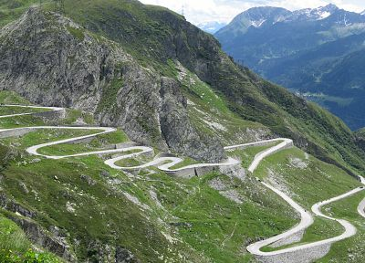 mountains, landscapes, valleys, Switzerland, Gotthard Pass - desktop wallpaper