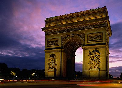 Paris, architecture, France, Arc De Triomphe, dusk - related desktop wallpaper