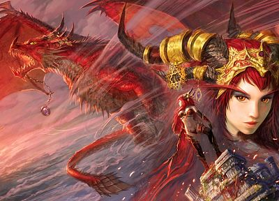 women, wings, dragons, World of Warcraft, redheads, horns, fantasy art, artwork, Alexstrasza, Yaorenwo - desktop wallpaper