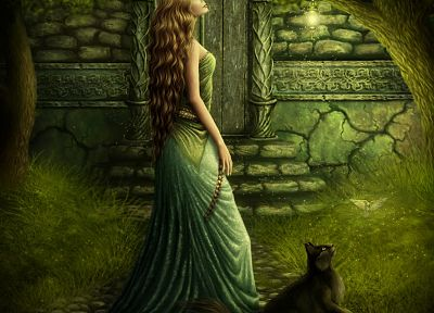 women, nature, cats, fantasy art - related desktop wallpaper