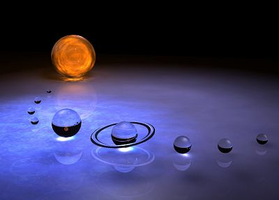 Sun, outer space, Solar System, planets, glass, Mars, Earth, Jupiter, Saturn, Pluto, Neptune, Mercury, Venus, Uranus, glass art - related desktop wallpaper