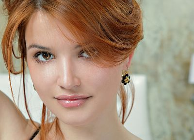 women, close-up, redheads, brown eyes, faces, Violla A - desktop wallpaper