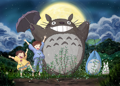 Totoro, My Neighbour Totoro, anime, umbrellas - desktop wallpaper