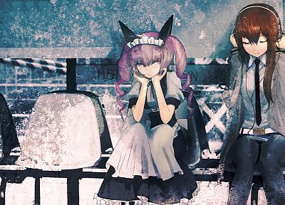 nekomimi, animal ears, Steins;Gate, Makise Kurisu, anime girls, hair band, Akiha Rumiho - desktop wallpaper