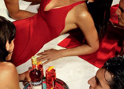 Jessica Alba, red dress, Campari - random desktop wallpaper