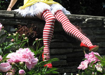 stockings, Ronald McDonald, striped legwear - desktop wallpaper