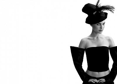 women, actress, Natalie Portman, grayscale, monochrome, white background - related desktop wallpaper