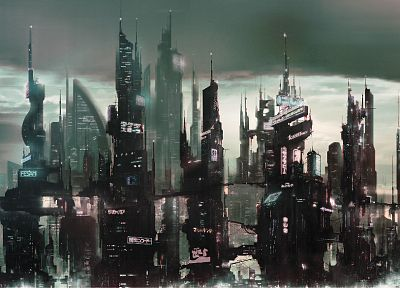futuristic, future, Japanese, skyscrapers, cities - related desktop wallpaper