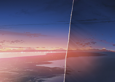 Makoto Shinkai, 5 Centimeters Per Second, artwork, anime, contrails - desktop wallpaper