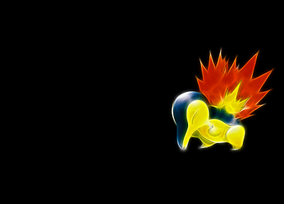 Pokemon, Cyndaquil, black background - random desktop wallpaper