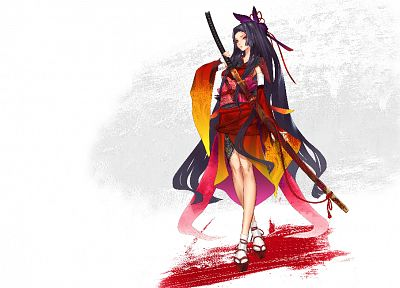 brunettes, gloves, dress, katana, long hair, ribbons, weapons, socks, armor, red eyes, sandals, bandages, soft shading, Redjuice, Japanese clothes, simple background, anime girls, hime cut, detached sleeves, ropes, swords, Kaorihime, nail polish, hair orn - related desktop wallpaper