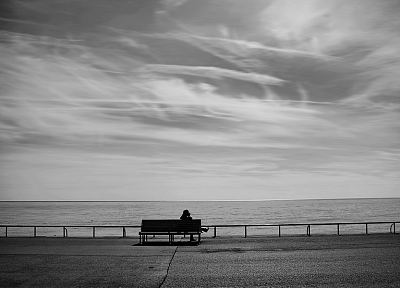 bench, lonely, grayscale, sitting, beaches - random desktop wallpaper